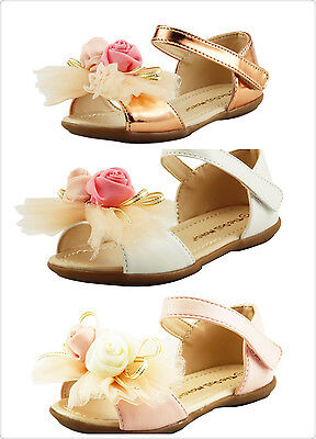 Beautiful Girl's Dress Shoes Sandals with Chiffon Flowers on top Toddler size - Beautiful Girl With Dress
