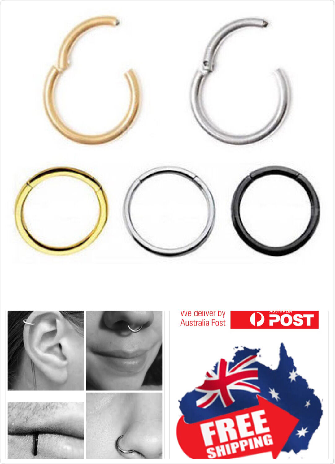 Jewellery - Surgical Steel Hinged Segment Clicker Hoop Ring Lip Ear Nose Body Piercing 1pc