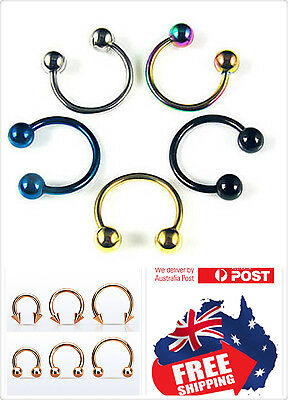 - Surgical Steel 16g Horseshoe Helix Hoop Ring Ball Cone Piercing Nose Ear lip 1pc
