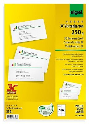 100 Sigel 3C Visitenkarten 250g weiß LP 800 801 802