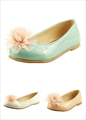 Beautiful Girl's Slip On Dress Shoes with Chiffon Flowers on top Toddler size