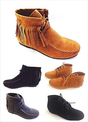 New Women's Faux Suede Layer Fringe Tassle Lace up Flat Moccasin Ankle Booties