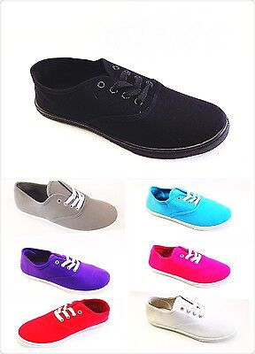 Women's Tennis Basic Athletic Lace Up Sneaker Canvas Flat Shoes NEW 7065