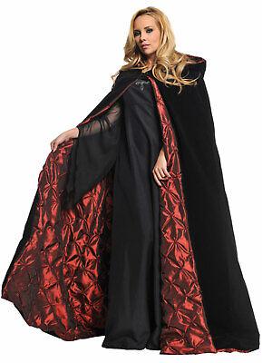 Gothic Vampire Long BLACK VELVET HOODED CLOAK CAPE Red Lining Cosplay Costume