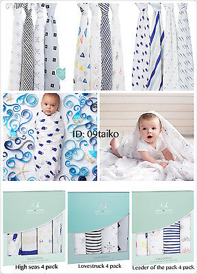 2017 NEW Aden and Anais 100% Cotton Muslin Baby Classic Swaddle Wrap 4 pack