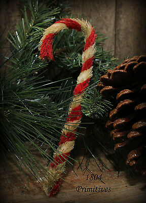 12 Primitive 6 Chenille Candy Canes Aged Look Sparkle