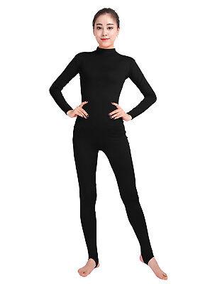 Ensnovo Womens Long Sleeve Turtleneck Stirrup Foot Spandex Unitard