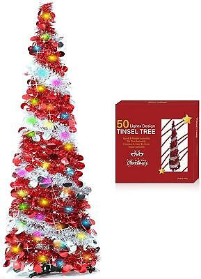 5 Feet Pop Up Christmas Tinsel Tree 50 Color Lights Pre-lit Tree Holiday Xmas