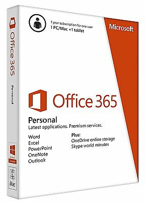 New Microsoft Office 365 Personal 1 Year Subscription Key 1 Pc Mac Download