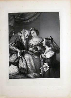 Esther und Ahasverus - Strozzi-Genovese - Große Lithographie-Hanfstaengl 1835-52