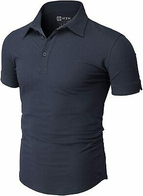 H2H Men's Casual Slim Fit Polo Shirts Short Sleeve Solid Var