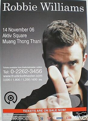 ROBBIE WILLIAMS 2006 BANGKOK, THAILAND CONCERT TOUR POSTER - Finger In Front