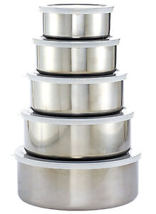 5-Piece Stainless Steel  Mixing Bowl Set with Plastic Lids New Quality Grade B !