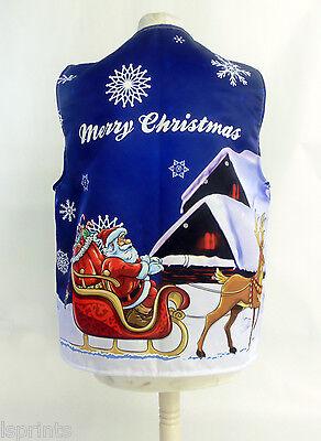 Frohe Weihnachten Weste Blau Santa's Schlitten Kostüm Neuheit Geschenkidee (Blaue Kostüme Ideen)