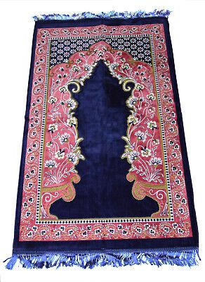 Turkish Prayer Rug Carpet Mat Islamic Muslim Salah Meditation Portable Blue