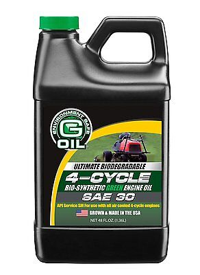 Green Earth 48Oz Bio Synthetic 4 Cycle Engine Oil 10W 30 Biodegradable G Oil