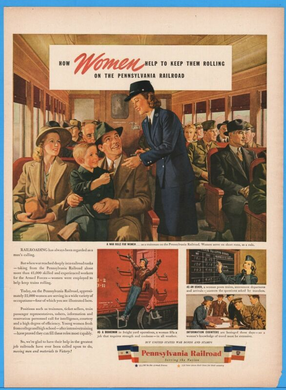 1944 Pennsylvania Railroad Passenger Train Women Wokers Herbert Bohnert Art Ad