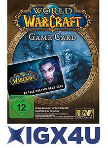 WoW 60 Tage Spielzeit - WORLD OF WARCRAFT EU TIME GAMECARD PREPAID/Game Timecard