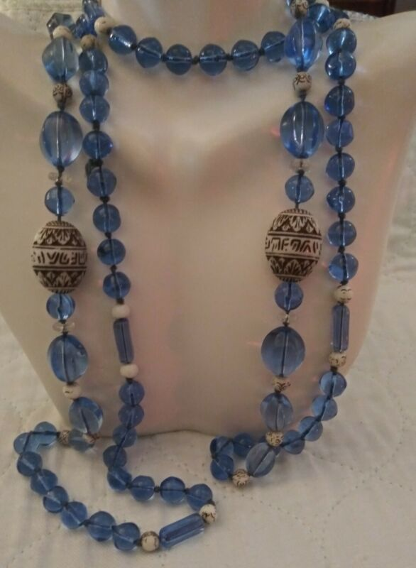 "VINTAGE ART DECO NEIGER BLUE GLASS & PRESSED URANIUM BEADS FLAPPER NECKLACE 55"""