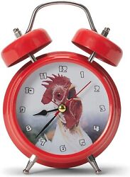Wacky Wakers Red Rooster Bedside Tabletop Alarm Sound Clock