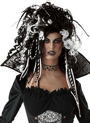 Black White Corpse Bride Curl Dreadlock Halloween Fancy Dress Costume Outfit Wig - Corpse Bride Halloween Wig