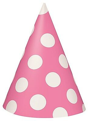 Hot Pink and White Polka Dot Cone Party Hats | Favour 1-48pk (Pink And White Polka Dot Paper)
