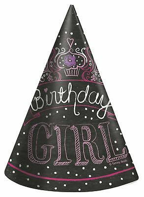 ** 16 x PAPER CONE HATS BIRTHDAY GIRL CUP CAKE PARTY TABLEWARE CHILDRENS BLACK](Black Birthday Party Hats)