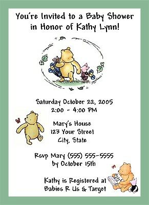 50 Personalized Classic Winnie the Pooh Baby Shower Invitations - Personalized Winnie The Pooh Baby Shower Invitations