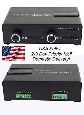 2 Amp x 2 Pair Speaker Selector Switch Switcher Splitter w Volume Control (Speaker Splitter)