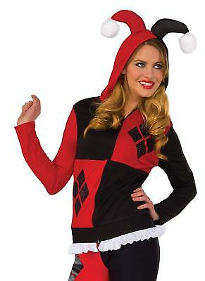 Harley Quinn Fitted Hoodie DC Comics Fancy Dress Up Halloween Adult - Harley Quinn Kostüm Hoodie