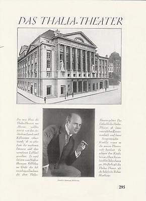 Thalia-Theater Hamburg Röbbeling Original Artikel von 1926 Ernst-Drucker-Theater