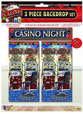 Party Wall Decorations (CASINO NIGHT Wall Backdrop Scene Setter Party Room Decorations Slot)