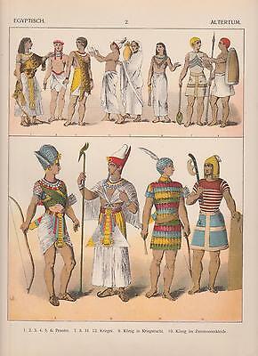 Ägypten Trachten Mode Altertum König Priester Pharao LITHOGRAPHIE von 1882 (Ägypten Trachten)