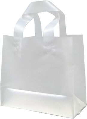 Reusable Clear Frosted Plastic Shopping Gift And Restaurant Take-out Bags Large