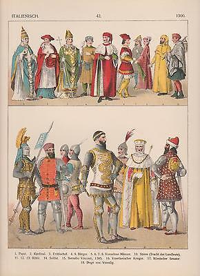 Italien Mode Trachten um 1300 Geistliche Ritter Krieger LITHOGRAPHIE von 1882