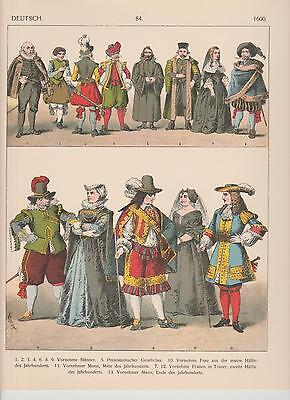 Deutschland Mode Trachten um 1600 Mittelalter LITHOGRAPHIE von 1882 Kleider