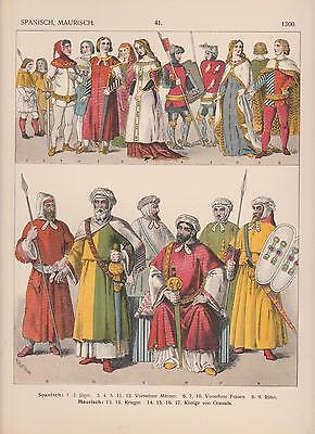 Spanien Maurisch Mode 1300 Trachten Ritter Krieger Jäger LITHOGRAPHIE von 1882