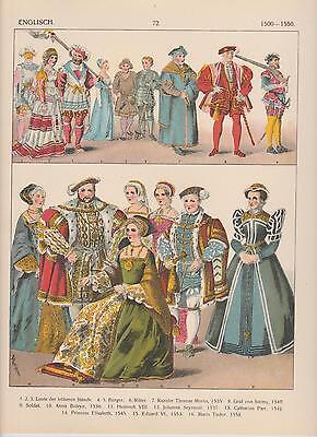 England Mode um 1550 - 150 Trachten Bürger Ritter Adelige LITHOGRAPHIE von 1882 (Trachten Von Mexiko)