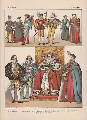 England Mode um 1550 - 1600 Trachten Mittelalter Elisabeth LITHOGRAPHIE von (Trachten Von Mexiko)