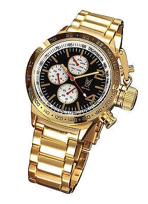 (Mens Gold Oversized Watch Multifunction Big Black Dial Metal Bracelet Large Face)