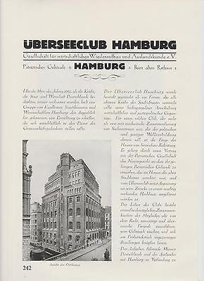 Übersee-Club in Hamburg ARTIKEL von 1926 Haus der Patriotischen Gesellschaft