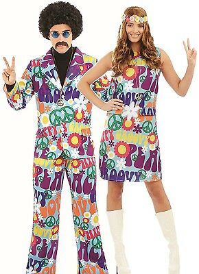 Couples Ladies AND Mens 60's 70's Hippy Carnival Fancy Dress Costumes Outfits](70s Couples Costumes)