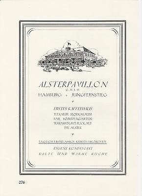 Alsterpavillion - Jungfernsteg - Hamburg Kaffeehaus Reklame von 1926