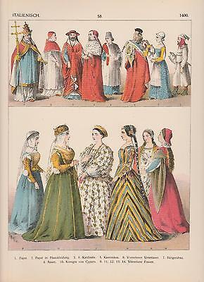 Italien Mode um 1400 Trachten Pabst Venetianer Bürger LITHOGRAPHIE von 1882