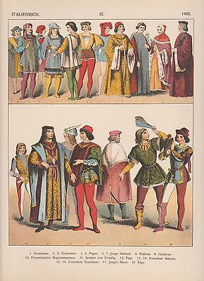 Italien Mode um 1400 Trachten Florentiner Gelehrter Page LITHOGRAPHIE von 1882