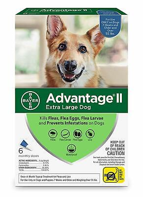 Bayer Advantage II for Extra Large Dogs Over 55 lbs - 6 Pack - NEW