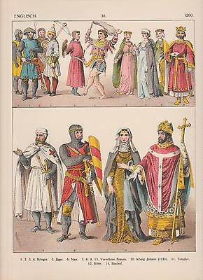 England Mode Trachten um 1200 Mittelalter Ritter Templer Narr LITHOGRAPHIE 1882