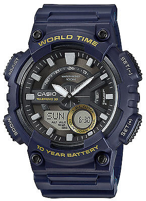 Casio AEQ110W-2AV,  Men's Databank 30 Watch, 100M, 3 Alarms, Chronograph, Resin