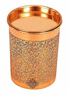 Embossed Design Benefit Yoga Ayurveda 300ml Copper Tumbler Cup with Lid, used for sale  Shipping to United States