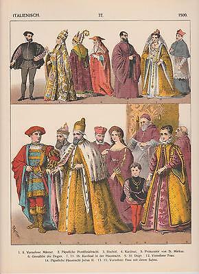 Italien Mode um 1500 Trachten Kleidermode Mittelalter LITHOGRAPHIE von 1882